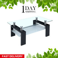 Black Coffee Table Glass Modern Shelf Wood Living Room Furniture Rectangular Hot