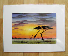 "SARAH FEATHERSTONE, ORIGINAL A4 WATERCOLOUR PAINTING 16x12"" MOUNT African Sunset"