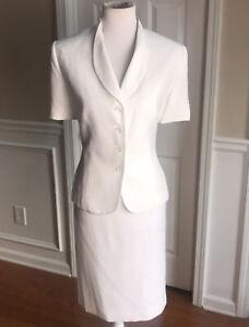 LE SUIT Women 2 PC White Elegant Skirt Suit Size 14 P