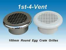 """4"""" 100mm CHROME/WHITE PLASTIC EGG CRATE CEILING GRILLE VENT for EXTRACTOR FANS"""
