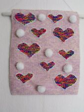 "OOAK woven tapestry wall hanging ART textile ""LOVE Rainbow HEART"" POM POM"