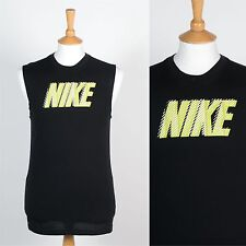 MENS NIKE DRI FIT SLEEVELESS T-SHIRT VEST TANK BLACK SPORTS FITNESS SUMMER S
