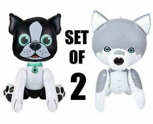 """(Set of 2) 24"""" Husky & Black Pug Puppy Dogs Inflatable  Inflate Party Decoration"""