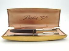 Vintage Cordovan Brown Parker 51 Fountain pen & Pencil Set Rolled Gold caps TM14