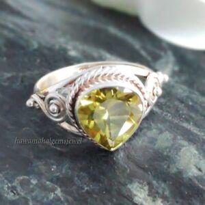 Lemon Quartz Silver Ring 925 Sterling Handmade Rings Natural Heart Gemstone