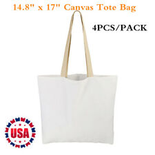 4pcs Pack 148 X 17 Sublimation Blank White Canvas Tote Bag Shopping Bags