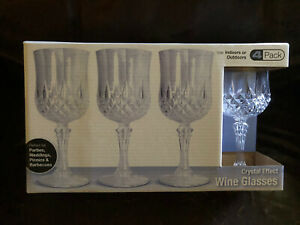 CRYSTAL LIKE EFFECT CLEAR WINE GLASSES DECORATIVE & DURABLE PACK OF 4 HAVE MORE