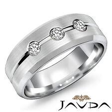 Mens Half Wedding 8mm Ring 18k White Gold Round Cut Diamond 3 Stone Band 0.30Ct