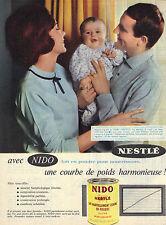 PUBLICITE ADVERTISING  1964   NESTLE   lait en poudre pour bébé NIDO