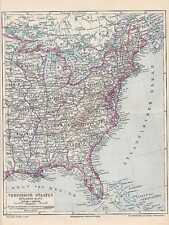 America Stati Uniti costa orientale Florida CARTINA 1897 Virginia Carolina Maine
