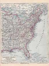 Amerika USA Ostküste Florida LANDKARTE 1897 Virginia Carolina Maine