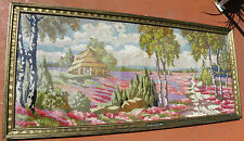 Huge Chic Framed Vintage Needlepoint Needle Point Country Cottage Picture 081010