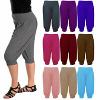 Womens 3/4 Ali Baba Hareem Baggy Pants Trousers Cropped Shorts Leggings 8-26