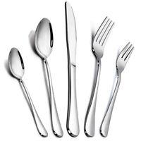 40Pcs Silver Stainless Steel Flatware Set Service Kitchen Cutlery Silverware
