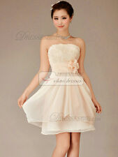 A-line Strapless Mini Chiffon Flower Bridesmaid  Prom Dresses Pink 4 USA Seller