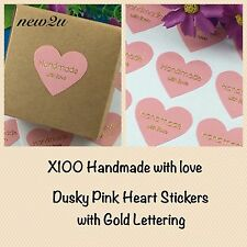 100 Hand Made With Love Dusky Pink  Heart Stickers With Gold Text Lettering