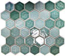 Keramikmosaik Mosaikfliesen Hexagon Grün Küchenrückwand Dusche | 10 Mosaikmatten