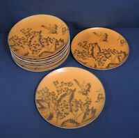 "Vintage Dorothy C. Thorpe California China 11 Dinner Plates 10-1/8"" Persimmon"