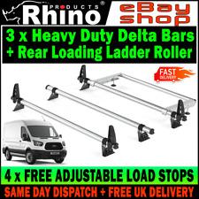 Rhino Delta 2 Bar Roof Bars 4x Load Stops for Ford Transit Medium Roof 00-14