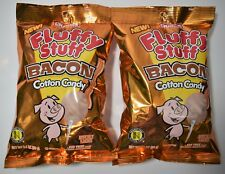 (2) Charms Fluffy Stuff Bacon Cotton Candy 2.1 Oz Bags Stocking Stuffer Gag Gift
