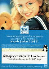 0d806ae1c2 Publicité Advertising 108 1993 Opticiens Krys lunettes enfants