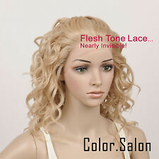Hand-Tied Flesh Lace Front Synthetic Wigs Glueless Mixed Blonde 95#613M27(F)