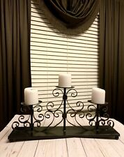 Beautiful Black Scroll Iron Wrought 3 Candle Candelabra Tabletop Candle Holder
