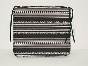 "Outdoor Patio Seat Pad ~ Pictograph Stripe Black White ~ 17"" x 15.5"" x 2.5"" NEW"