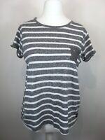Womens Superdry Grey Striped Short Sleeve T-Shirt Size Medium Lace Back