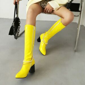 Women's Pointy Toe Mid-Calf Knee High Boots Patent Leather Party casual Heel Sho