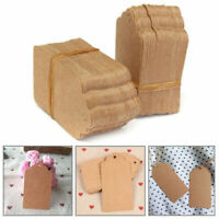 100pcs Brown Kraft Paper Hang Tags Wedding Party Favor Label Price Gift Cards