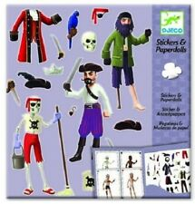 Brand New DJECO Stickers & Paperdolls reusable Pirate stickers clothes Travel