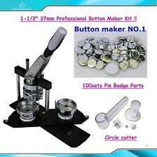 "Diy! 1-1/2"" Kit! N4 Badge Button Maker +100 Pin Badge+ Circle Cutter For School"