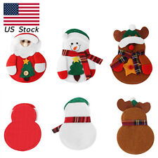 Christmas Knife Spoon Fork Bag Pouch Dinner Tableware Cover Decor Xmas 12Pcs/Set