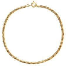 "18k Gold Plated Thin Classic Mesh Snake Chain Womens Bracelet 7.5"""