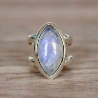 Vintage Marquise Cut Moonstone Punk Ring 925 Silver Fashion Party Jewelry Sz5-11