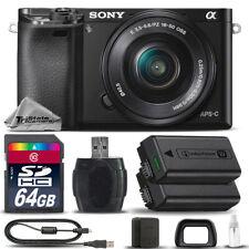 Sony Alpha a6000 Mirrorless Digital Camera + 16-50mm Lens + EXT BATT- 64GB Kit