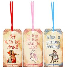 Alice in Wonderland bookmarks party favors set of six laminated silk ribbons