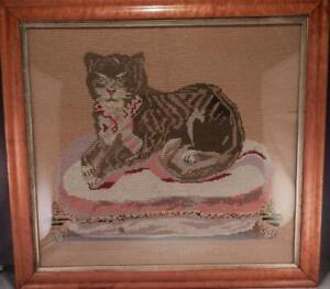 Antique Petit Point Embroidery~Needlepoint~Folk Art Cat Portrait~Birds-Eye Frame
