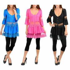 S M L WHOLESALE LOT OF 12 Black,Blue and Pink Blouse/Tunic,Lace,Crystal Buttons