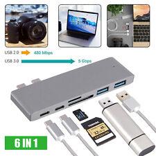 Multi Port 6-in-1 Hub Type-C Adapter Thunderbolt Gray USB 3.0 For MacBook Pro
