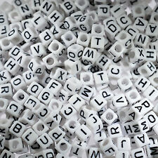 500pcs Letter Beads Mixed White Acrylic Plastic Alphabet Bead Cube Charms Square