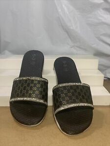 Black Gold Slides Sz 8 'goochy' Inspired Stone Embellish Stylish House Slippers