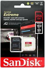 SanDisk Extreme 256 GB micro SD SDXC 160MB Class 10 UHS-I U3 V30 256G 4K UHD A2