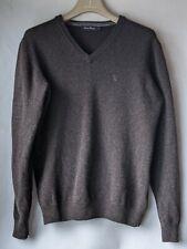 James Pringle V Neck Long Sleeve Brown 100% Wool Medium Knit Jumper Size L