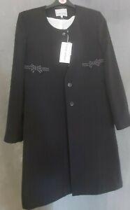Michel Ambers Black Long Suit Style Jacket Size 12 BNWT (D5)