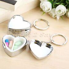 Portable Heart Shape Pill Box Medicine Organizer Case Container 2 Slots Silver