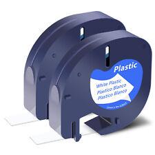 2x For Dymo Letratag Lt100h Lt100t 91331 Plastic White Refills Label Tape 12in