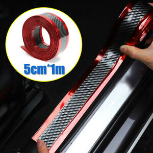 Carbon Fiber Car Door Plate Sill Scuff Cover Accessories Anti Scratch Sticker