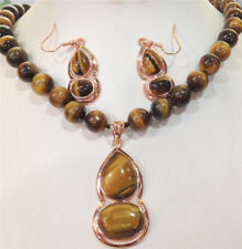 Genuine 10mm Tigers Eye Round Gems Beads Gourd Pendant Necklace Earrings Set